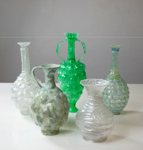 Photo of urns created by Sheri Mendelson.